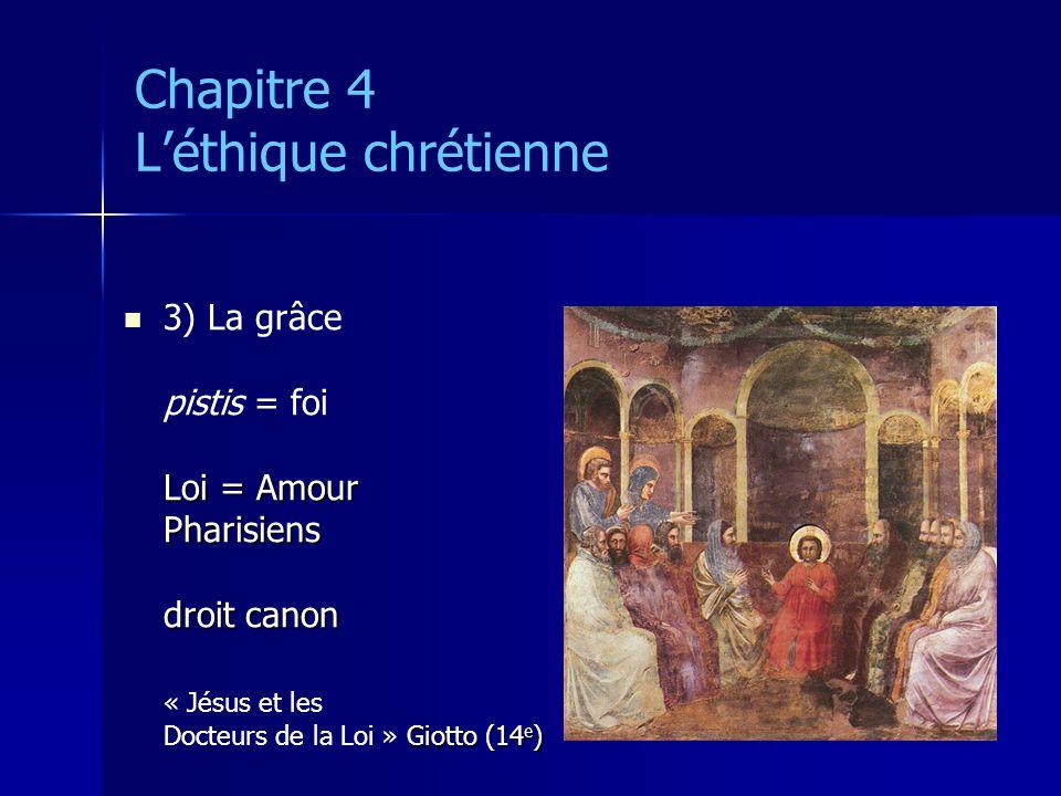 Chapitre 4 Léthique chrétienne 3) La grâce pistis = foi Loi = Amour Pharisiens droit canon « Jésus et les Giotto (14 e ) Docteurs de la Loi » Giotto (