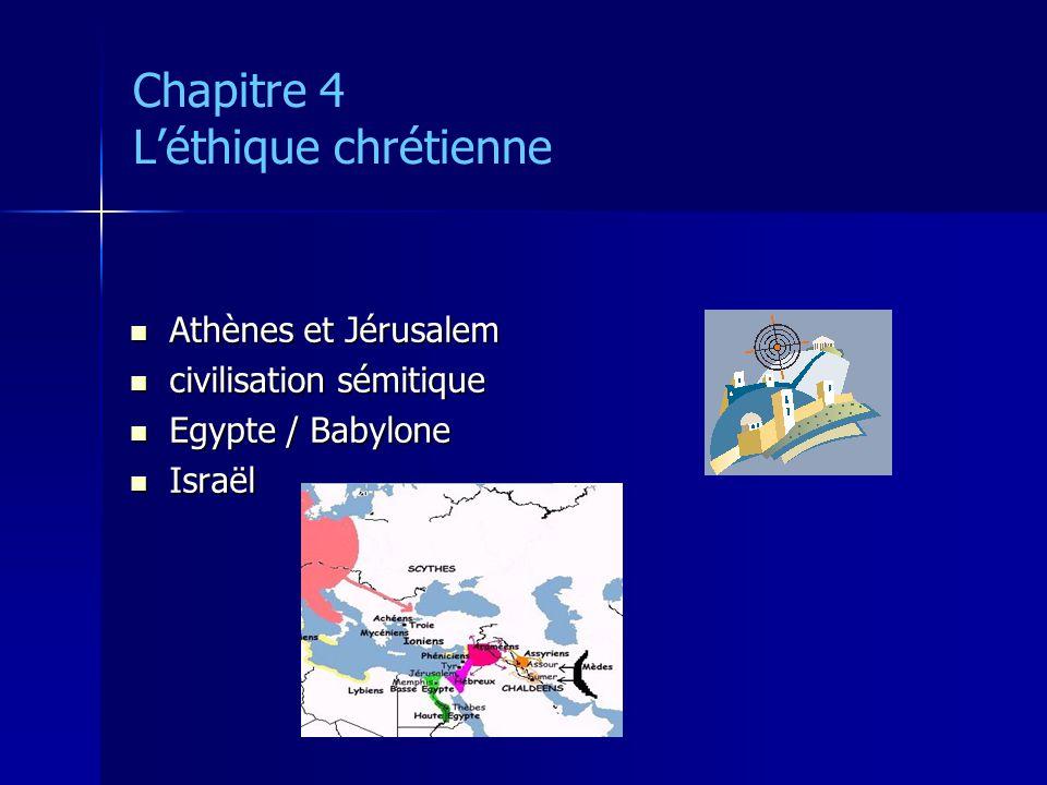 Chapitre 4 Léthique chrétienne Athènes et Jérusalem Athènes et Jérusalem civilisation sémitique civilisation sémitique Egypte / Babylone Egypte / Baby