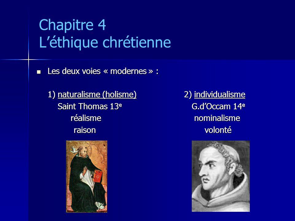 Chapitre 4 Léthique chrétienne Les deux voies « modernes » : Les deux voies « modernes » : 1) naturalisme (holisme)2) individualisme Saint Thomas 13 e
