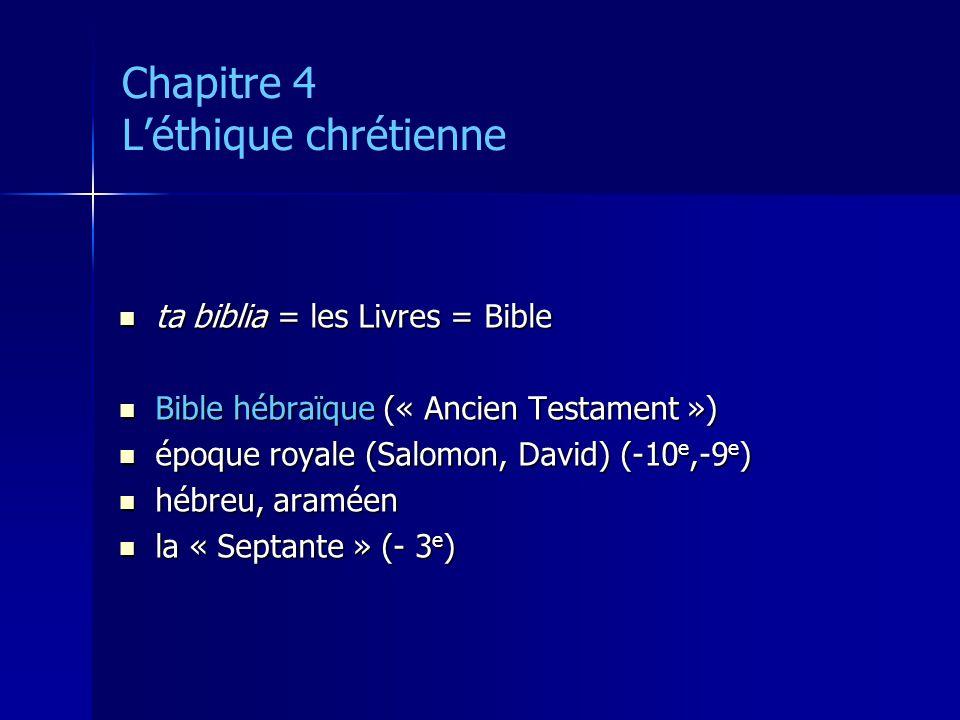 Chapitre 4 Léthique chrétienne ta biblia = les Livres = Bible ta biblia = les Livres = Bible Bible hébraïque (« Ancien Testament ») Bible hébraïque («