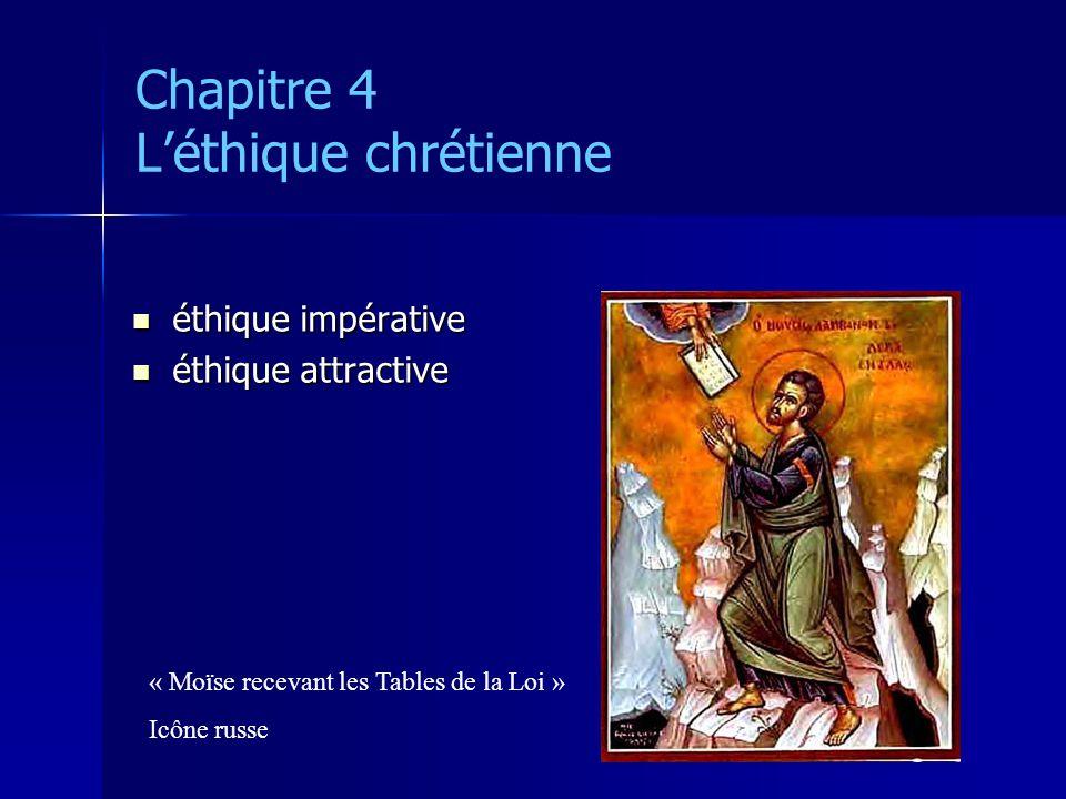 Chapitre 4 Léthique chrétienne éthique impérative éthique impérative éthique attractive éthique attractive « Moïse recevant les Tables de la Loi » Icô