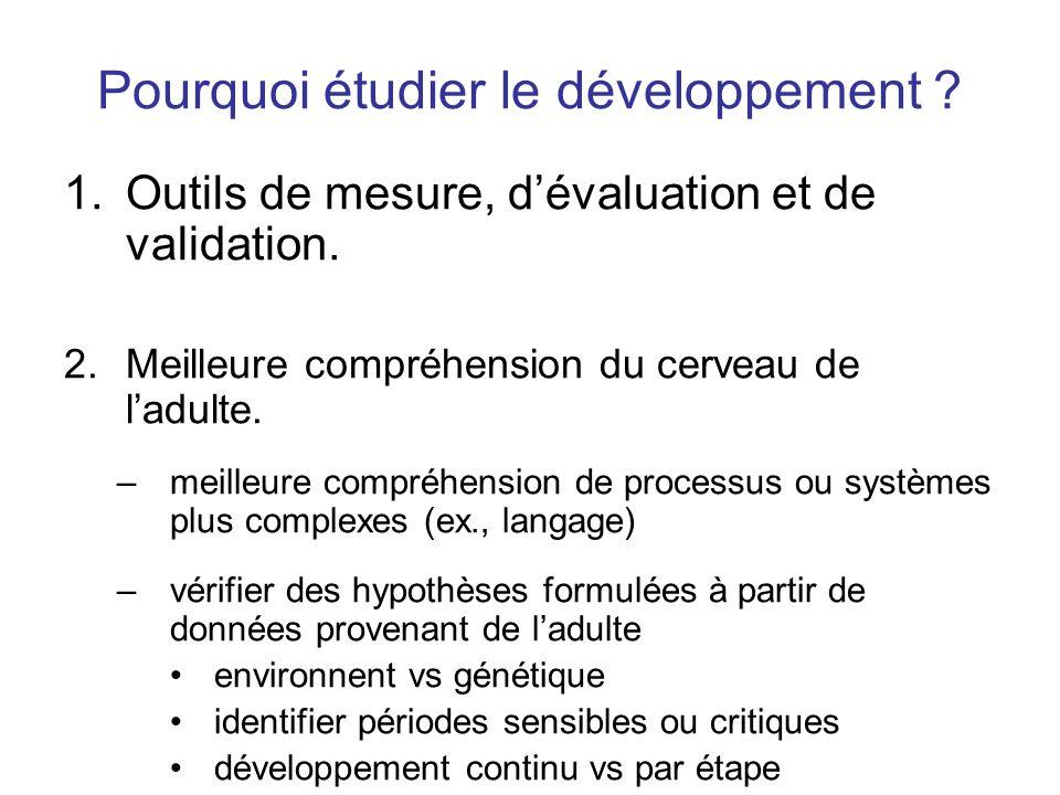 Pourquoi étudier le développement ? 1.Outils de mesure, dévaluation et de validation. 2.Meilleure compréhension du cerveau de ladulte. –meilleure comp