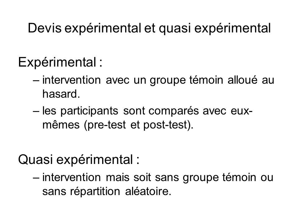 Devis expérimental et quasi expérimental Expérimental : –intervention avec un groupe témoin alloué au hasard. –les participants sont comparés avec eux