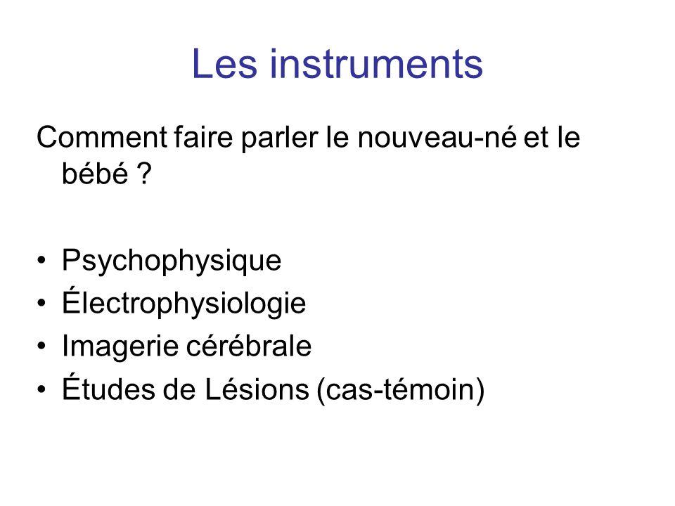 Les instruments Comment faire parler le nouveau-né et le bébé ? Psychophysique Électrophysiologie Imagerie cérébrale Études de Lésions (cas-témoin)