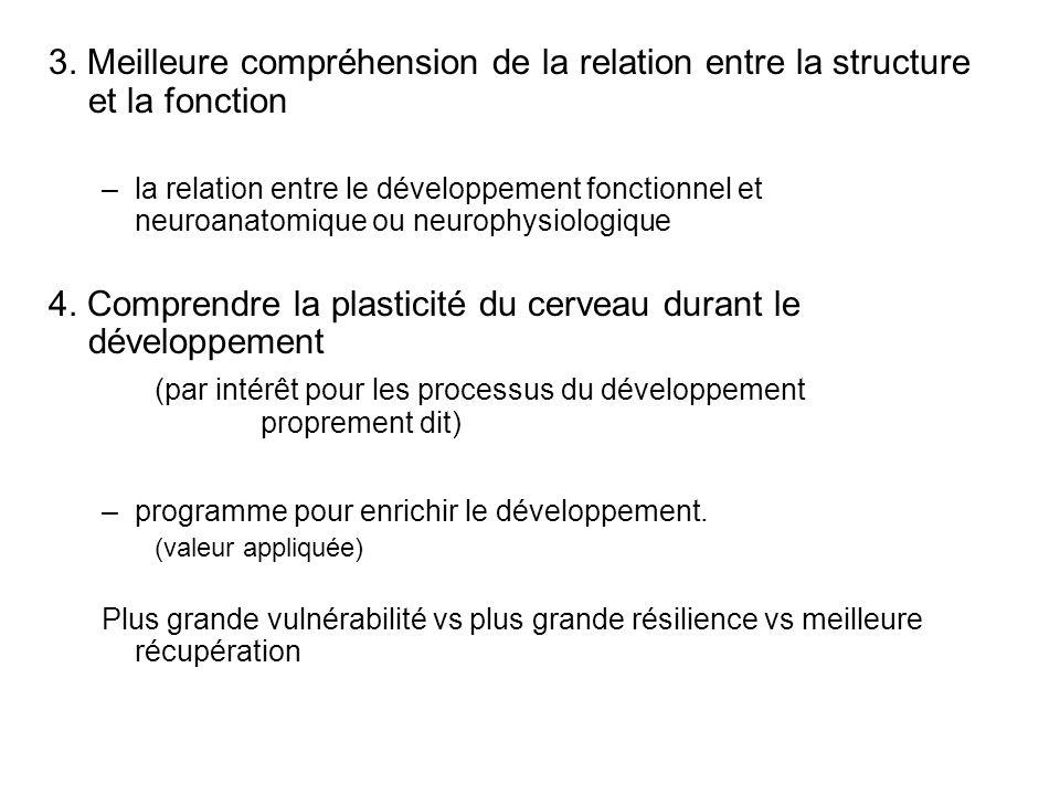3. Meilleure compréhension de la relation entre la structure et la fonction –la relation entre le développement fonctionnel et neuroanatomique ou neur