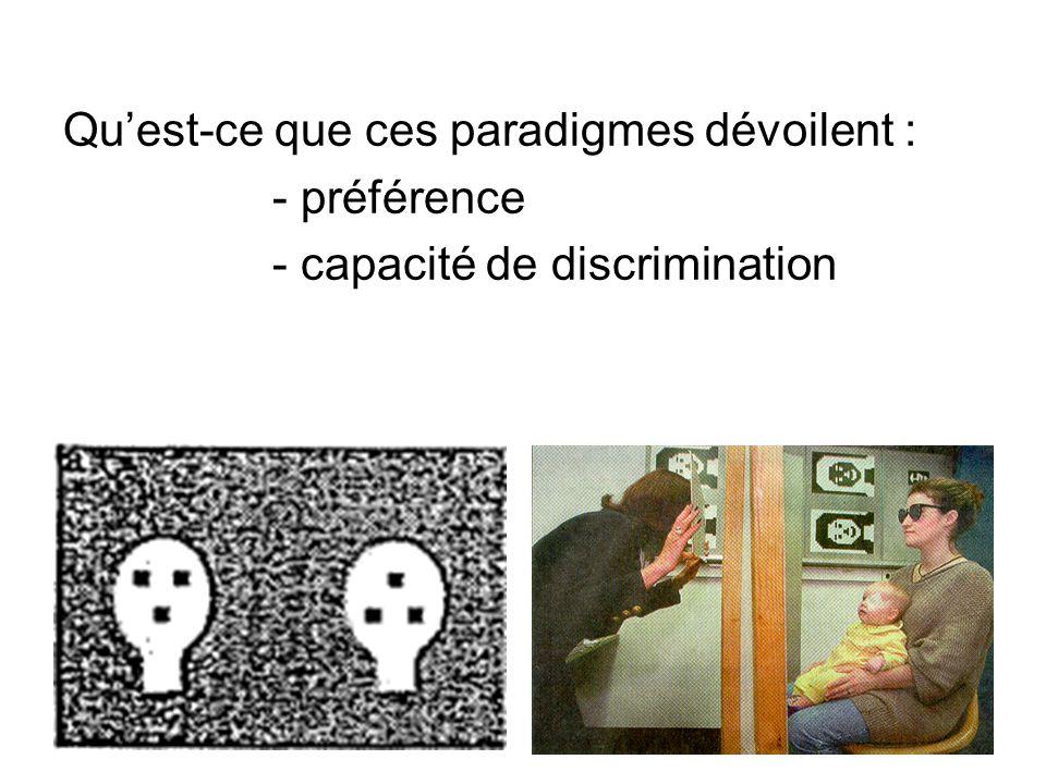 Quest-ce que ces paradigmes dévoilent : - préférence - capacité de discrimination