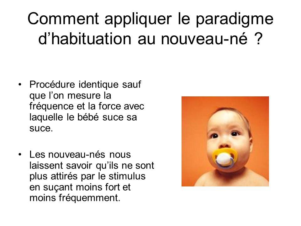 Comment appliquer le paradigme dhabituation au nouveau-né ? Procédure identique sauf que lon mesure la fréquence et la force avec laquelle le bébé suc