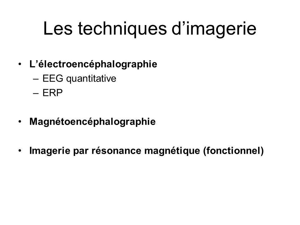 Les techniques dimagerie Lélectroencéphalographie –EEG quantitative –ERP Magnétoencéphalographie Imagerie par résonance magnétique (fonctionnel)