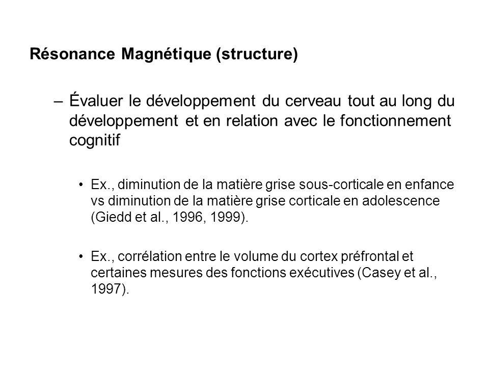 Résonance Magnétique (structure) –Évaluer le développement du cerveau tout au long du développement et en relation avec le fonctionnement cognitif Ex.
