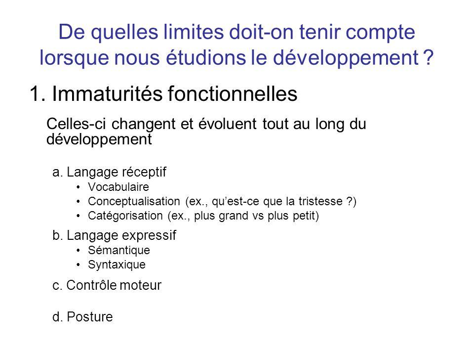 De quelles limites doit-on tenir compte lorsque nous étudions le développement ? 1. Immaturités fonctionnelles Celles-ci changent et évoluent tout au