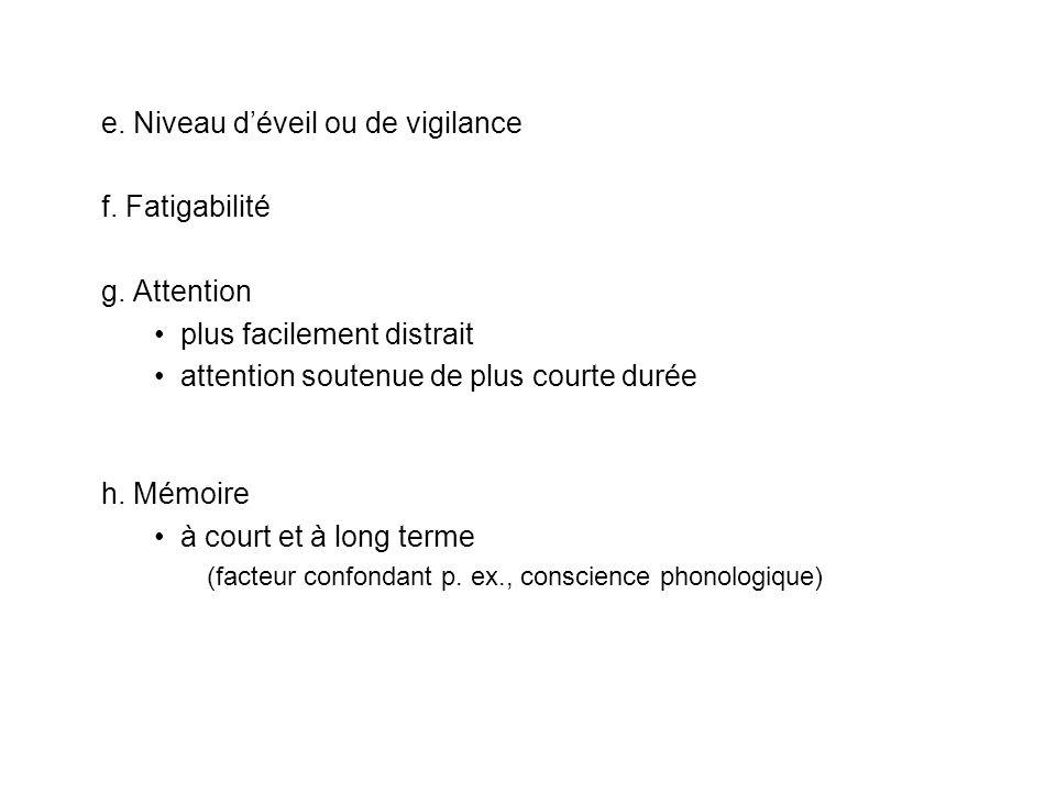 e. Niveau déveil ou de vigilance f. Fatigabilité g. Attention plus facilement distrait attention soutenue de plus courte durée h. Mémoire à court et à