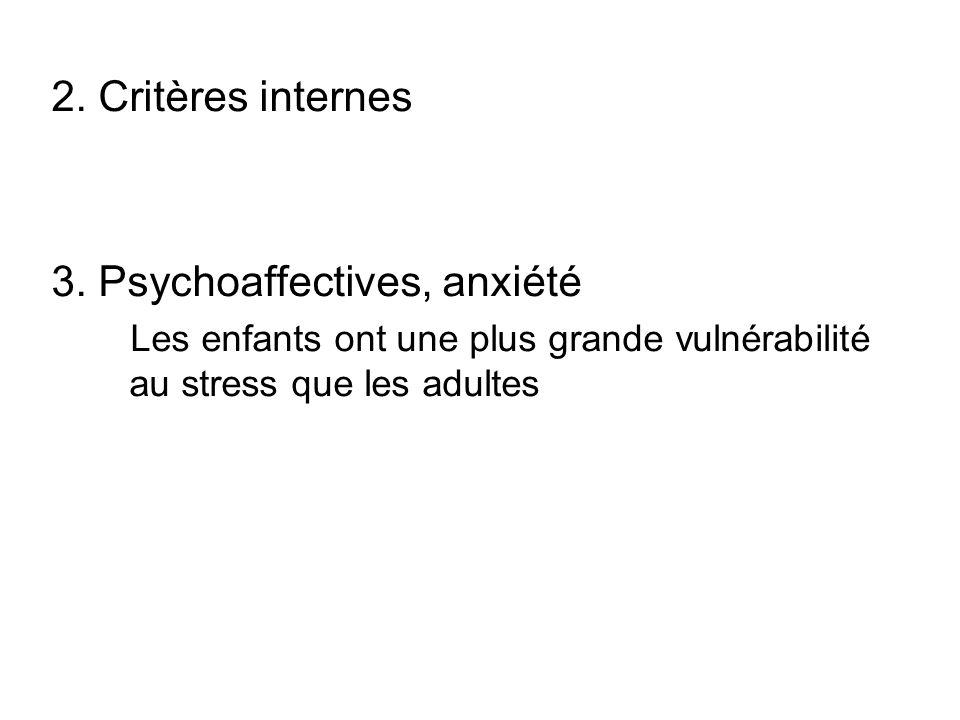 2. Critères internes 3. Psychoaffectives, anxiété Les enfants ont une plus grande vulnérabilité au stress que les adultes