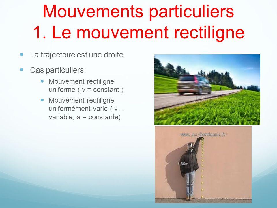 Mouvements particuliers 1. Le mouvement rectiligne La trajectoire est une droite Cas particuliers: Mouvement rectiligne uniforme ( v = constant ) Mouv