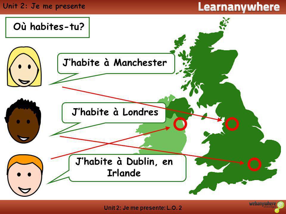 Unit 2: Je me presente: L.O. 2 Unit 2: Je me presente Où habites-tu? Jhabite à ManchesterJhabite à Londres Jhabite à Dublin, en Irlande