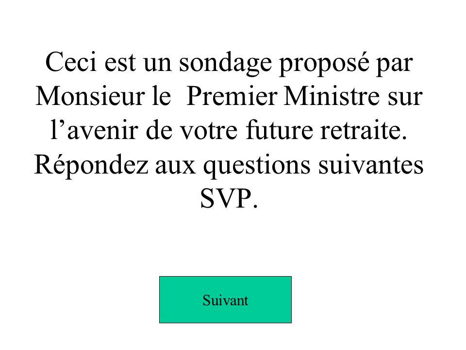 Ceci est un sondage proposé par Monsieur le Premier Ministre sur lavenir de votre future retraite.