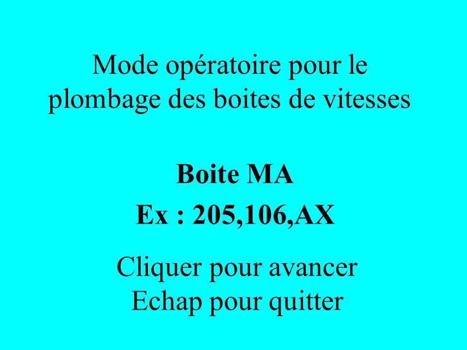 Mode opératoire pour le plombage des boites de vitesses Boite MA Ex : 205,106,AX Cliquer pour avancer Echap pour quitter