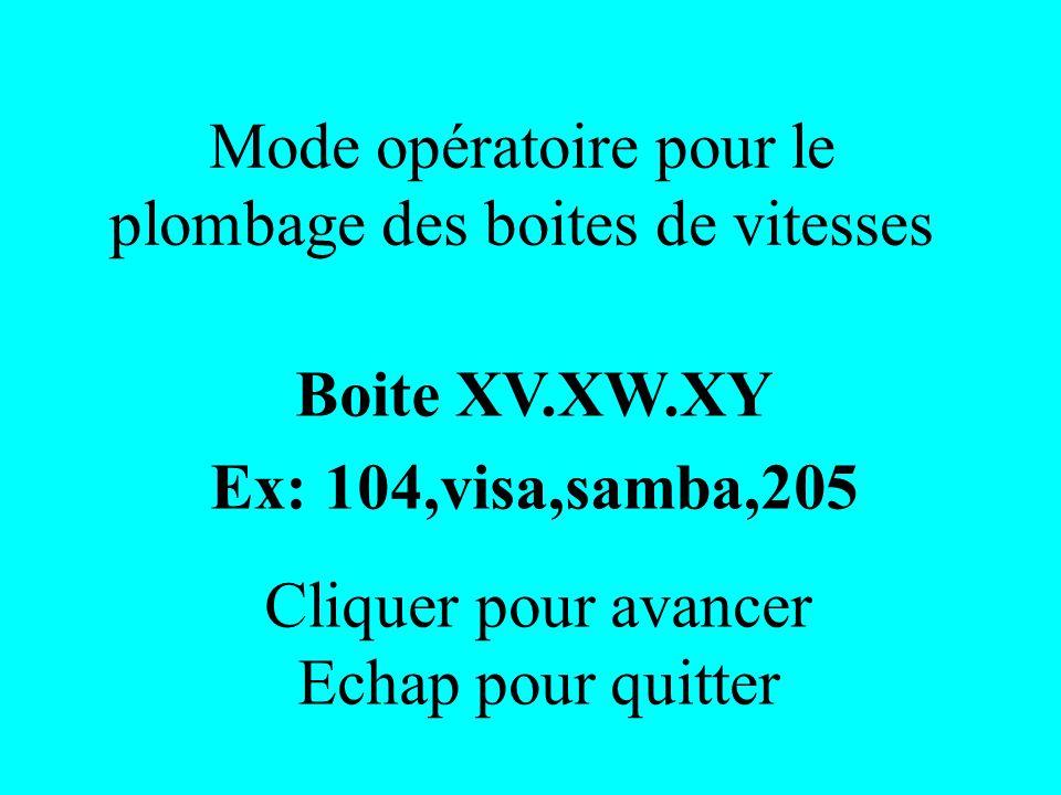 Mode opératoire pour le plombage des boites de vitesses Boite XV.XW.XY Ex: 104,visa,samba,205 Cliquer pour avancer Echap pour quitter
