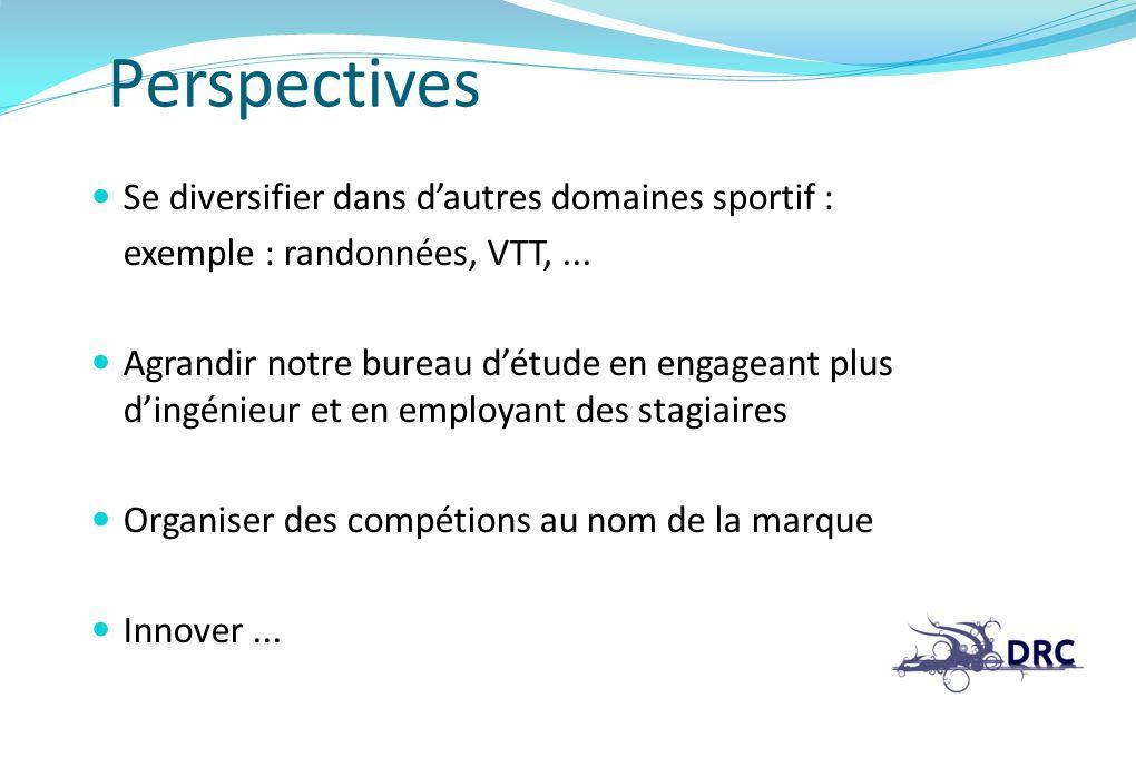 Perspectives Se diversifier dans dautres domaines sportif : exemple : randonnées, VTT,... Agrandir notre bureau détude en engageant plus dingénieur et