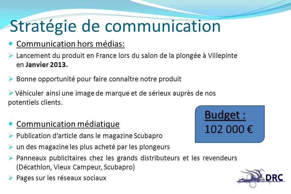 Stratégie de communication Communication hors médias: Lancement du produit en France lors du salon de la plongée à Villepinte en Janvier 2013. Bonne o