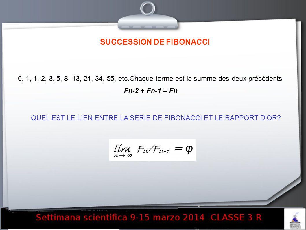 SUCCESSION DE FIBONACCI 0, 1, 1, 2, 3, 5, 8, 13, 21, 34, 55, etc.Chaque terme est la summe des deux précédents Fn-2 + Fn-1 = Fn QUEL EST LE LIEN ENTRE
