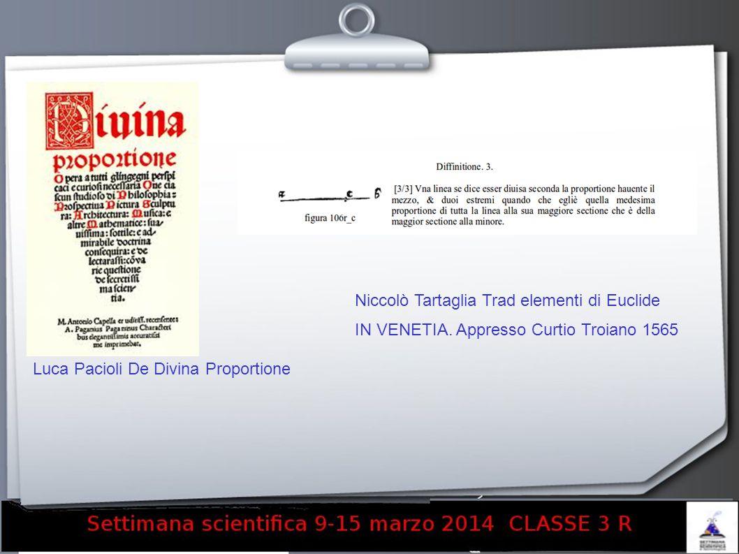 Luca Pacioli De Divina Proportione Niccolò Tartaglia Trad elementi di Euclide IN VENETIA. Appresso Curtio Troiano 1565