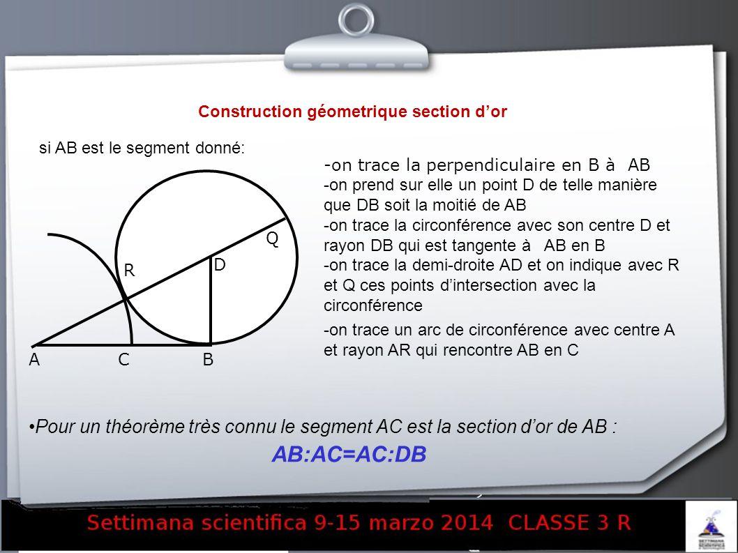 Construction géometrique section dor si AB est le segment donné: -on trace la perpendiculaire en B à AB -on prend sur elle un point D de telle manière