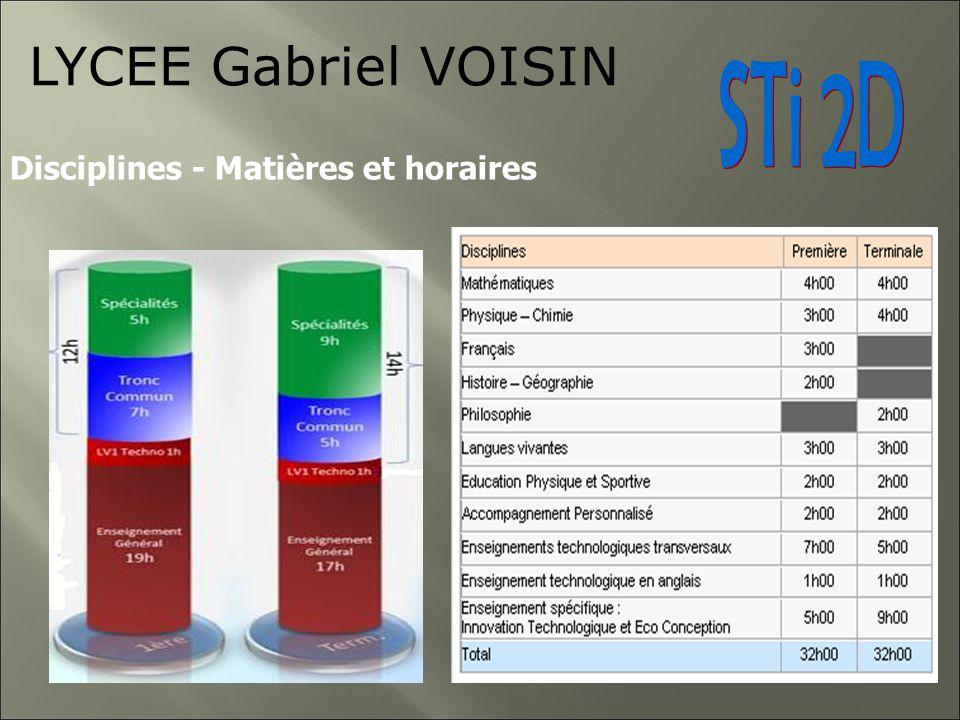 LYCEE Gabriel VOISIN Disciplines - Matières et horaires