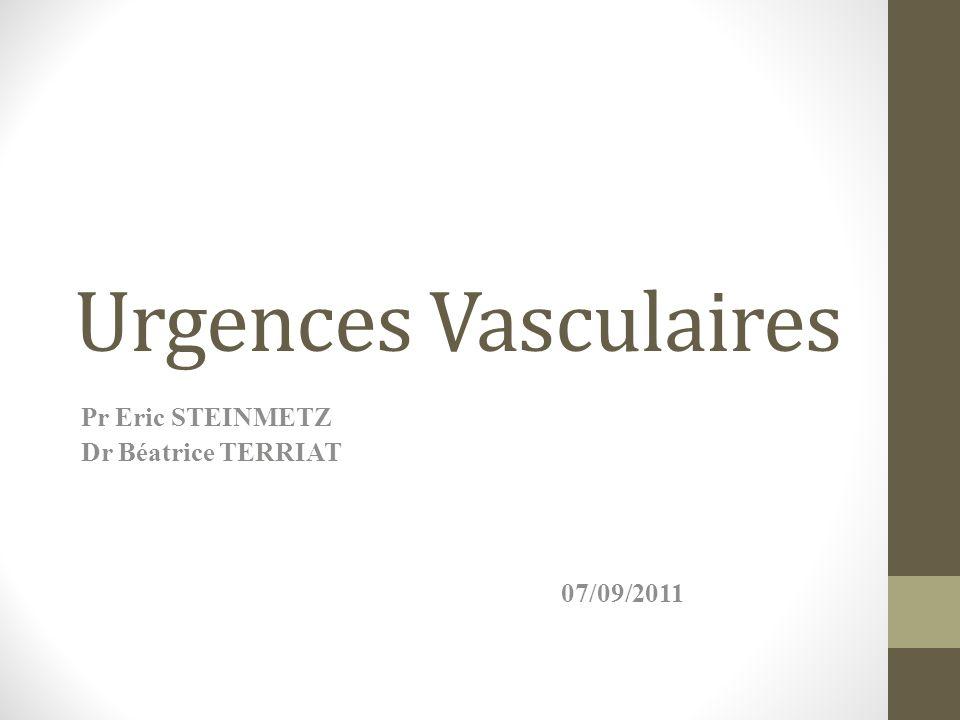 Urgences Vasculaires Pr Eric STEINMETZ Dr Béatrice TERRIAT 07/09/2011