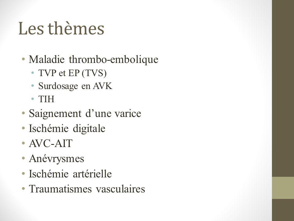 Les thèmes Maladie thrombo-embolique TVP et EP (TVS) Surdosage en AVK TIH Saignement dune varice Ischémie digitale AVC-AIT Anévrysmes Ischémie artérie