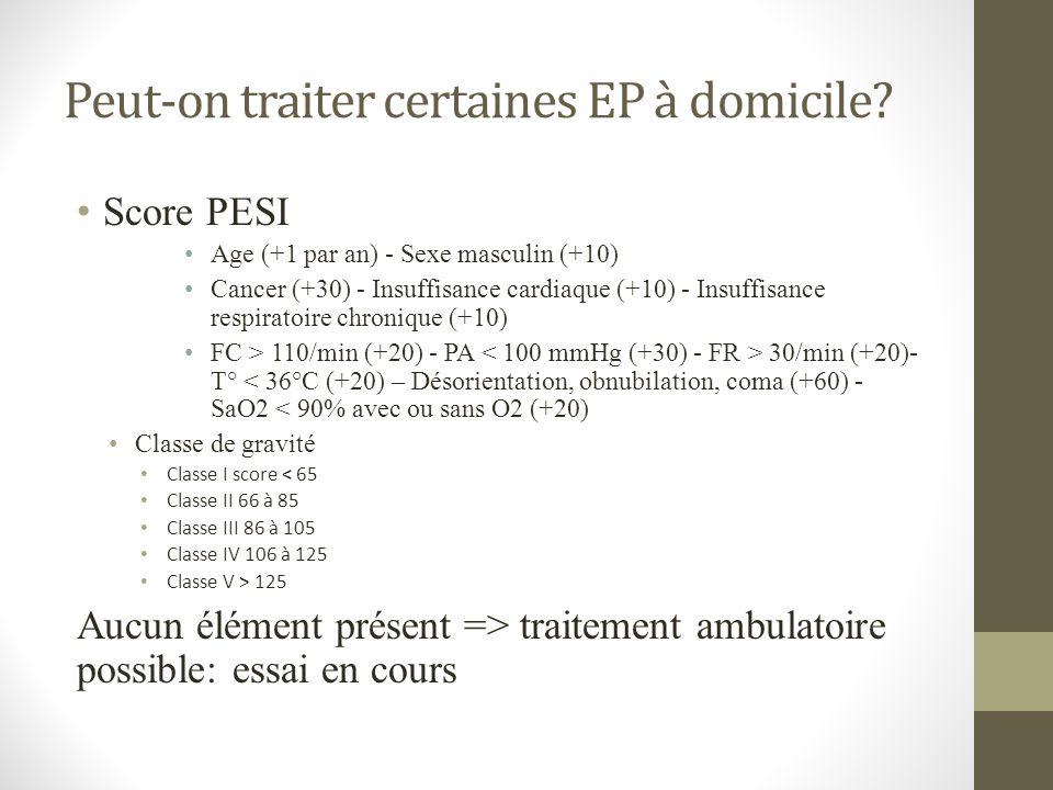 Peut-on traiter certaines EP à domicile? Score PESI Age (+1 par an) - Sexe masculin (+10) Cancer (+30) - Insuffisance cardiaque (+10) - Insuffisance r