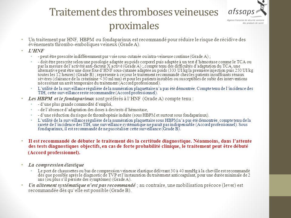 Traitement des thromboses veineuses proximales Un traitement par HNF, HBPM ou fondaparinux est recommandé pour réduire le risque de récidive des événe