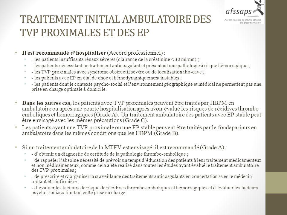 TRAITEMENT INITIAL AMBULATOIRE DES TVP PROXIMALES ET DES EP Il est recommandé dhospitaliser (Accord professionnel) : - les patients insuffisants rénau