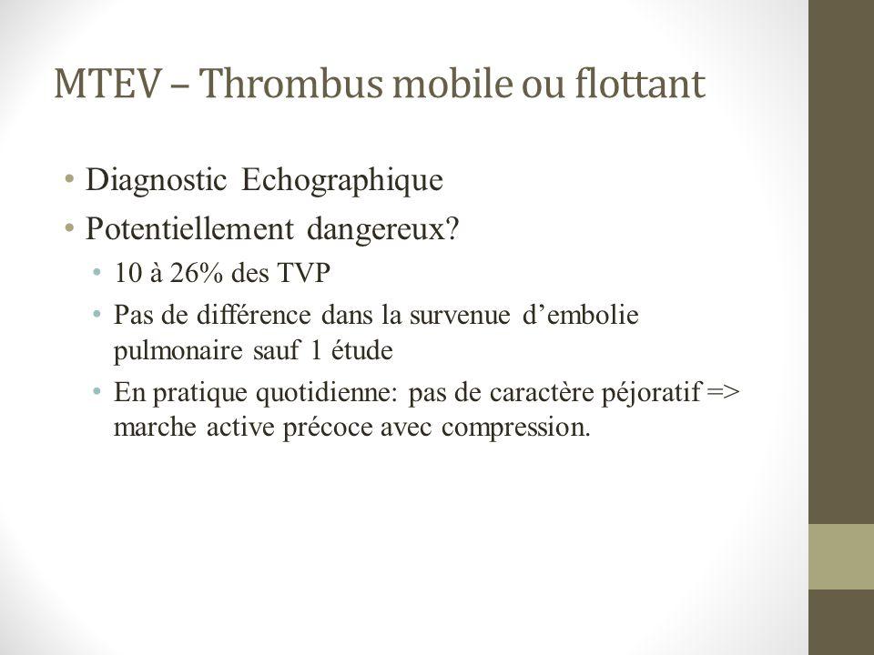 MTEV – Thrombus mobile ou flottant Diagnostic Echographique Potentiellement dangereux? 10 à 26% des TVP Pas de différence dans la survenue dembolie pu