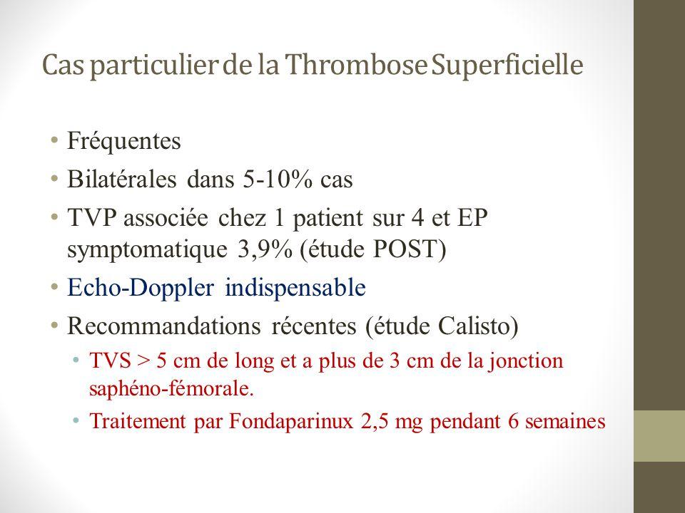 Cas particulier de la Thrombose Superficielle Fréquentes Bilatérales dans 5-10% cas TVP associée chez 1 patient sur 4 et EP symptomatique 3,9% (étude