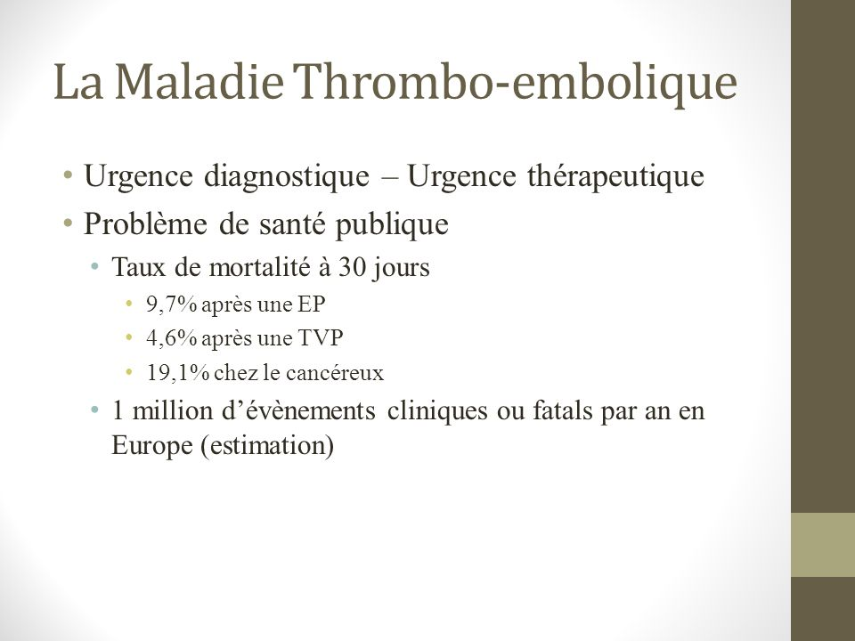 La Maladie Thrombo-embolique Urgence diagnostique – Urgence thérapeutique Problème de santé publique Taux de mortalité à 30 jours 9,7% après une EP 4,