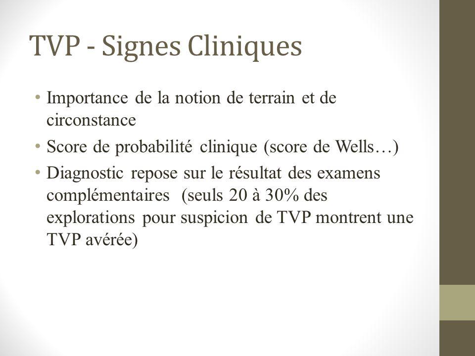 TVP - Signes Cliniques Importance de la notion de terrain et de circonstance Score de probabilité clinique (score de Wells…) Diagnostic repose sur le
