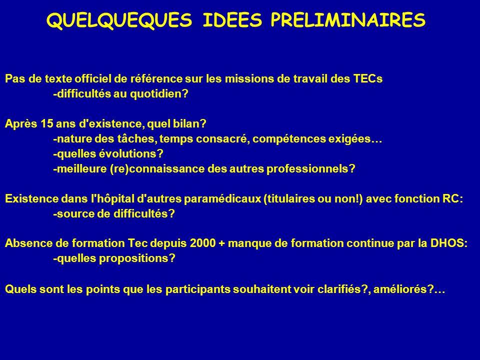 QUELQUEQUES IDEES PRELIMINAIRES Pas de texte officiel de référence sur les missions de travail des TECs -difficultés au quotidien.