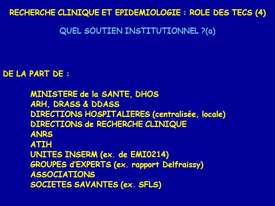 RECHERCHE CLINIQUE ET EPIDEMIOLOGIE : ROLE DES TECS (4) QUEL SOUTIEN INSTITUTIONNEL (a) DE LA PART DE : MINISTERE de la SANTE, DHOS ARH, DRASS & DDASS DIRECTIONS HOSPITALIERES (centralisée, locale) DIRECTIONS de RECHERCHE CLINIQUE ANRS ATIH UNITES INSERM (ex.