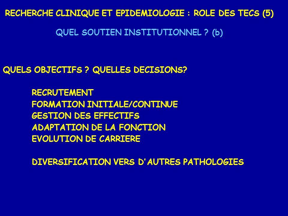 RECHERCHE CLINIQUE ET EPIDEMIOLOGIE : ROLE DES TECS (5) QUEL SOUTIEN INSTITUTIONNEL ? (b) QUELS OBJECTIFS ? QUELLES DECISIONS? RECRUTEMENT FORMATION I