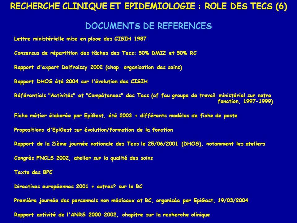 RECHERCHE CLINIQUE ET EPIDEMIOLOGIE : ROLE DES TECS (6) DOCUMENTS DE REFERENCES Lettre ministérielle mise en place des CISIH 1987 Consensus de réparti
