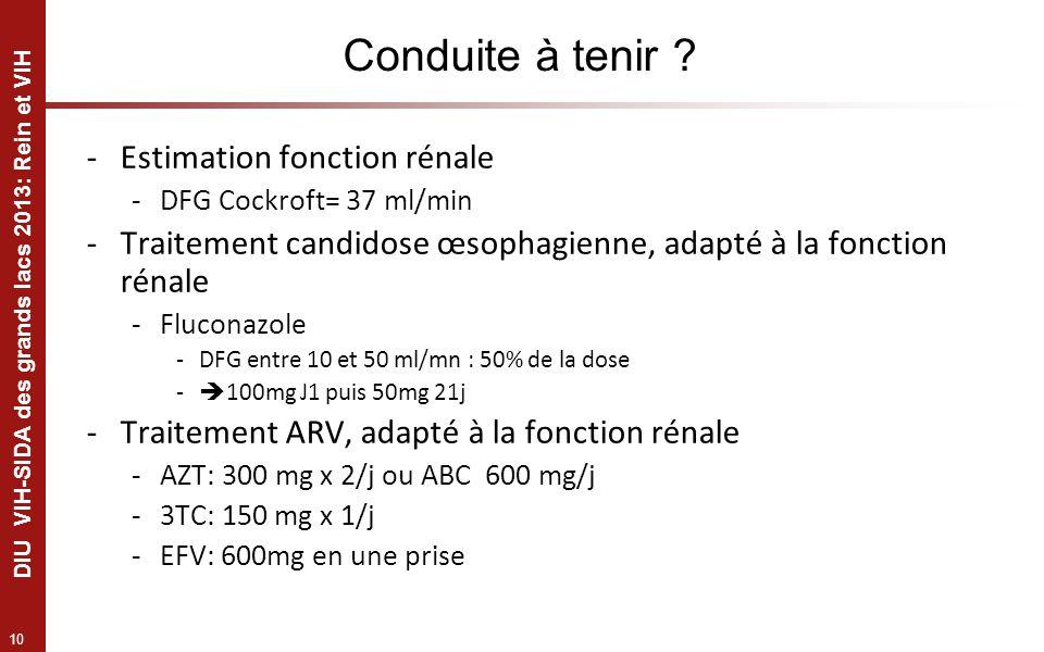 10 DIU VIH-SIDA des grands lacs 2013: Rein et VIH Conduite à tenir ? -Estimation fonction rénale -DFG Cockroft= 37 ml/min -Traitement candidose œsopha
