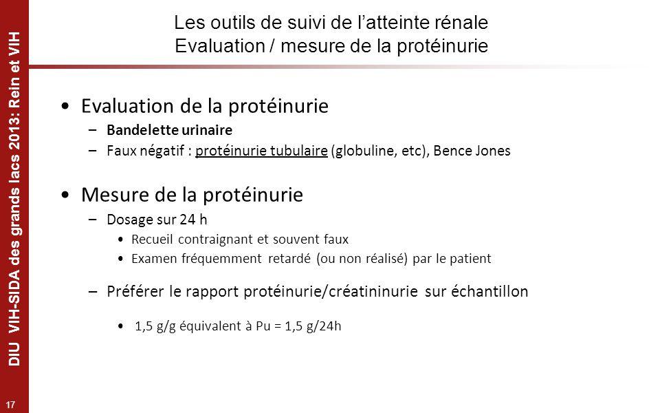 17 DIU VIH-SIDA des grands lacs 2013: Rein et VIH Les outils de suivi de latteinte rénale Evaluation / mesure de la protéinurie Evaluation de la proté