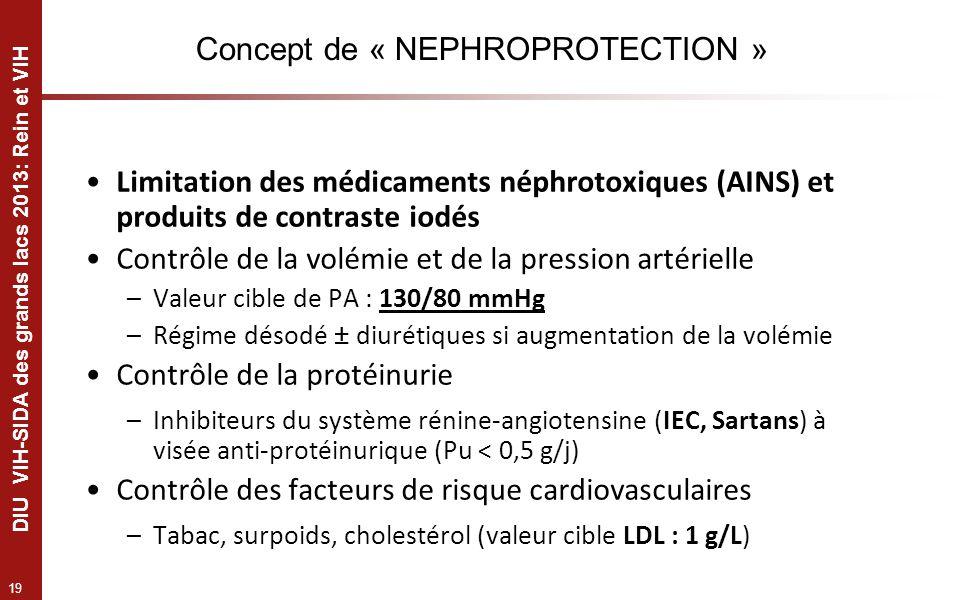 19 DIU VIH-SIDA des grands lacs 2013: Rein et VIH Concept de « NEPHROPROTECTION » Limitation des médicaments néphrotoxiques (AINS) et produits de cont