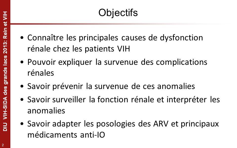 2 DIU VIH-SIDA des grands lacs 2013: Rein et VIH Objectifs Connaître les principales causes de dysfonction rénale chez les patients VIH Pouvoir expliq