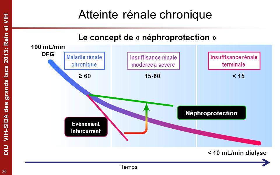 20 DIU VIH-SIDA des grands lacs 2013: Rein et VIH Le concept de « néphroprotection » Atteinte rénale chronique Néphroprotection < 10 mL/min dialyse 15