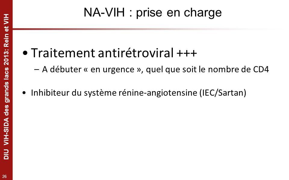 26 DIU VIH-SIDA des grands lacs 2013: Rein et VIH NA-VIH : prise en charge Traitement antirétroviral +++ –A débuter « en urgence », quel que soit le n