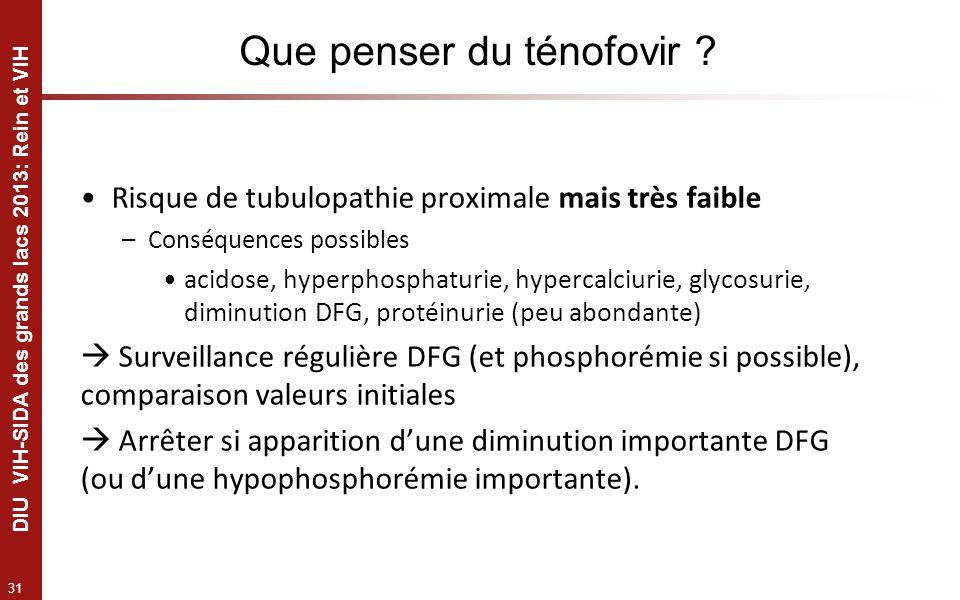 31 DIU VIH-SIDA des grands lacs 2013: Rein et VIH Que penser du ténofovir ? Risque de tubulopathie proximale mais très faible –Conséquences possibles