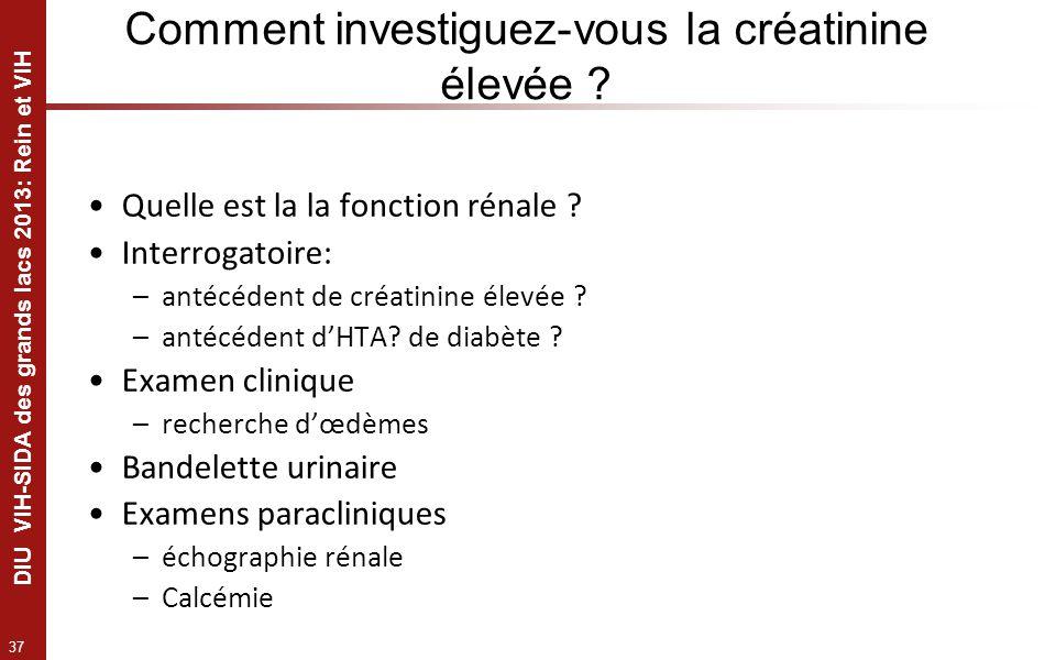 37 DIU VIH-SIDA des grands lacs 2013: Rein et VIH Comment investiguez-vous la créatinine élevée ? Quelle est la la fonction rénale ? Interrogatoire: –