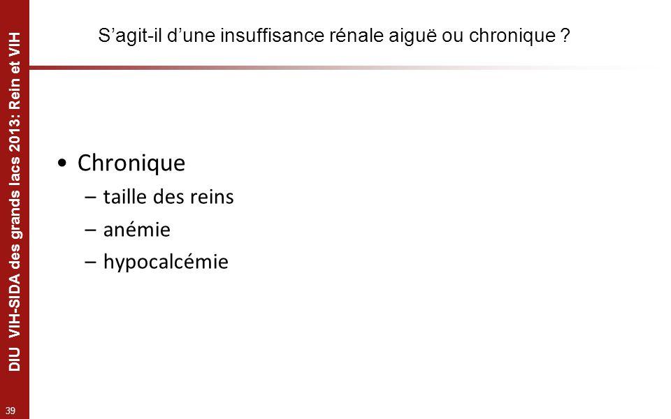 39 DIU VIH-SIDA des grands lacs 2013: Rein et VIH Sagit-il dune insuffisance rénale aiguë ou chronique ? Chronique –taille des reins –anémie –hypocalc