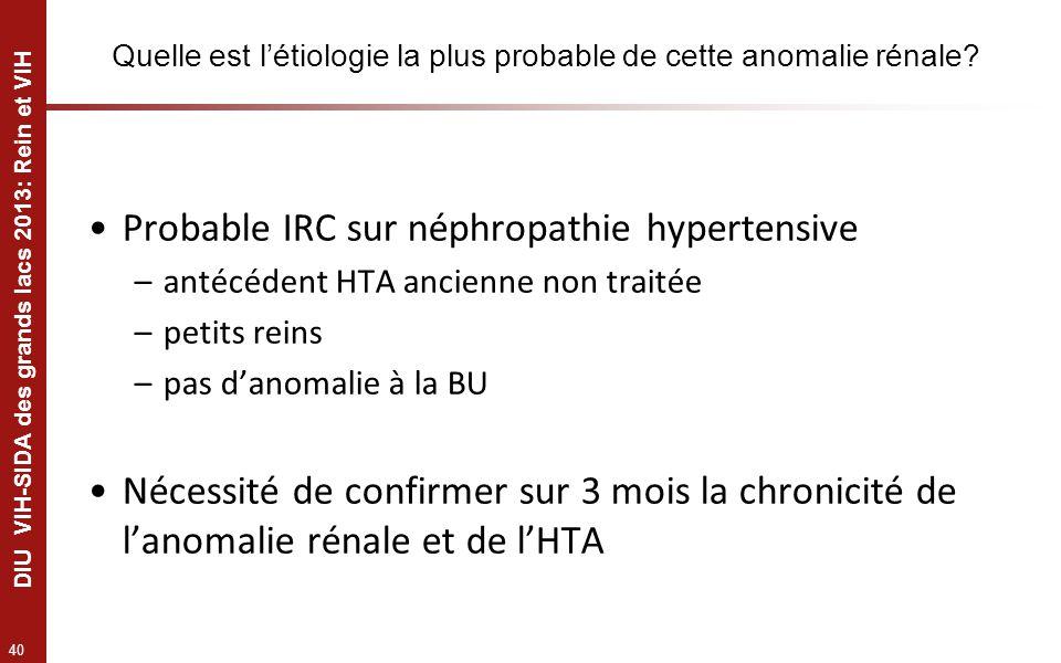 40 DIU VIH-SIDA des grands lacs 2013: Rein et VIH Quelle est létiologie la plus probable de cette anomalie rénale? Probable IRC sur néphropathie hyper